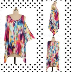 Off Shoulder Colorful Print Tunic Top 🌈 A spring must have! Super cute colorful top! 1X,2X,3X. 95% Rayon and 5% Spandex. Tops Tunics