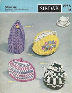 Vintage knitting pattern 2 tea cosies, a coffee pot cosy and tea pot cover