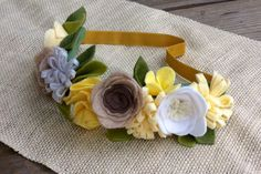Felt Flower Crown // Natural Yellow // Garden by fancyfreefinery, $20.00