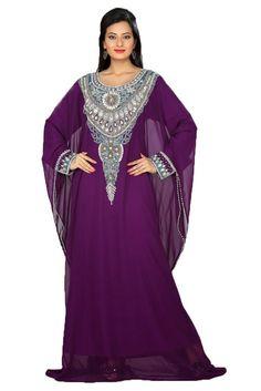 Palas Fashion Women's Arabic Handmade Kaftan Abaya Dress XXX-Large Purple
