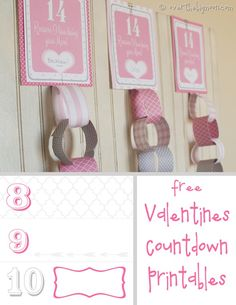 Free Printable Valentines Countdown | Over The Big Moon Valentine Activities, Valentine Day Crafts, Happy Valentines Day, Valentine Ideas, Holiday Crafts, Valentines Photo Booth, Day Countdown, Valentine's Day Printables, Decoration