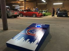 https://flic.kr/p/NtMem5 | Car show at Workshop 4200.  Cubs cornhole with LED's | Pre party for game 6 vs Dodgers.  Cornhole, cars, Cubs.