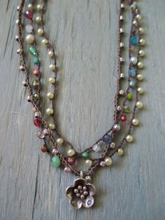 Ultra Dainty crochet necklace Tiny Treasures Multi by slashKnots idea only********************************************