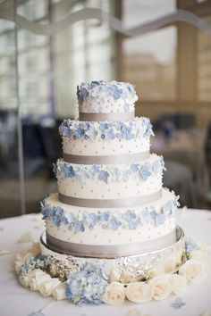 I made this for my own wedding this past August.  (blue hydrangeas, fondant, gumpaste, pearls, gray satin ribbon)  Any comments/suggestions are welcomed, thanks for looking!