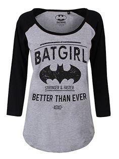 Batman Batgirl - Better Than Ever Girl-Longsleeve grau meliert/schwarz XS
