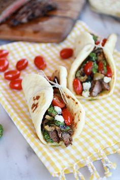 Greek Steak and Pesto Salad Gyros