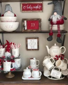 "26 Likes, 2 Comments - MyGatheredGrace (@mygatheredgrace) on Instagram: ""Well hello Rae Dunn Christmas display goals found this goodie on Pinterest, wish I could tag…"""