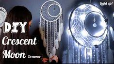 DIY Crescent Moon Dreamcatcher with Fairy Lights Tutorial - Bing video Moon Dreamcatcher, Crochet Dreamcatcher, Dreamcatcher Tutorial, Dreamcatchers Diy, Dreamcatcher Design, Disney Diy Crafts, Easy Diy Crafts, Diy Dream Catcher Tutorial, Wool Wall Hanging