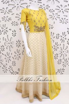 PalkhiFashion Exclusive Light Yellow/ Beige Pure Silk Outfit with Elegant Hand Work Indian Gowns Dresses, Indian Fashion Dresses, Indian Designer Outfits, Girls Fashion Clothes, Brocade Dresses, Midi Dresses, Lengha Blouse Designs, Wedding Saree Blouse Designs, Party Wear Lehenga