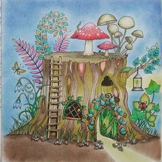 My humble abode, a little tree stump house from Johanna Basford's Enchanted Forest. Medium: Faber-Castell Polychromos, Derwent blender and Titi soft pastels #johannabasfordenchantedforest #enchantedforest #enchantedforestcoloringbook #johannabasford #adultcoloringbook