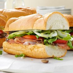 """Summer Sub Sandwich Recipe -""""Being originally from the Northeast, we love submarine sandwiches,"""" shares Jennifer of Concord, Ohio. """"So I came up with this hearty ham-and-cheese combination that's good either hot or cold."""""""