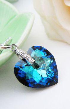 bermuda blue heart necklace. gorgeous!
