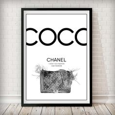 COCO I don't do Fashion - I am Fashion B&W Art Print COCO I don't do Fashion - I am Fashion B&W Please note our framed prints DO NOT Include a white border / mount / mat        around the image.  We use Premium Quality Inkjet Heavyweight Satin Paper which gives a sharp, crisp, clear look to all of our artworks. Its heavier weight gives it that 'professional' feel.  Please remember that computer monitors vary. Colors and contrast may slightly differ.There also might be a slight difference…