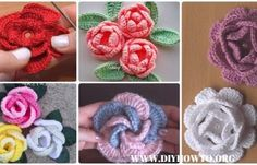 Crochet 3D Rose Flower Free Patterns & Tutorials
