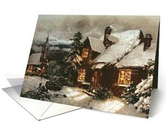 Church and Cottage with Lighted Windows by English School Fine Art Christmas Happy Holidays card