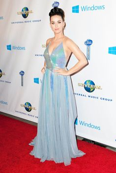 Katy Perry in an iridescent blue custom Giorgio Armani gown at the Universal Music Group post-Grammys bash.
