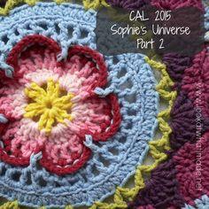 Sophie's Universe Part 2 {CAL 2015} Motif Mandala Crochet, Crochet Square Patterns, Crochet Motifs, Crochet Blocks, Crochet Squares, Crochet Designs, Crochet Yarn, Crochet Stitches, Granny Squares