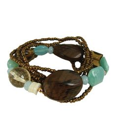 Take a look at this Sea Foam & Brown Bead Multistrand Stretch Bracelet by LOLO by New Dimensions on #zulily today!