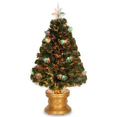 3' Fiber Optics Green Firework Artificial Christmas Tree with Multicolored Lights