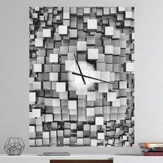 Designart 'Black and Grey Cubes' Oversized Modern Metal Clock in. wide x 40 in. 3 Panel Wall Clock, Wall Clock Light, Mirror Wall Clock, Pendulum Wall Clock, Rectangle Wall Clock, Wall Design, Design Art, Crystal Background, Break Wall