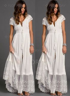 fdf175a7fe4a Solid Embroidery Peasant Maxi Shift Dress - Floryday