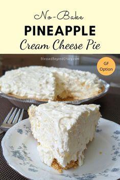 Easy Pie Recipes, Cream Cheese Recipes, Pineapple Cream Cheese Pie Recipe, Free Recipes, Cheese Pies, Cheese Food, Pineapple Dessert Recipes, Baked Pineapple, Cream Cheese Desserts