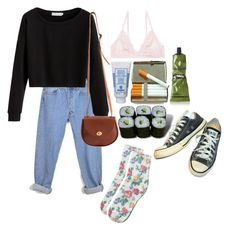 """""""quick lil outfit"""" by mysleepinghorizon on Polyvore featuring American Apparel, Converse, Monki, Sisley, Jura and Aesop"""