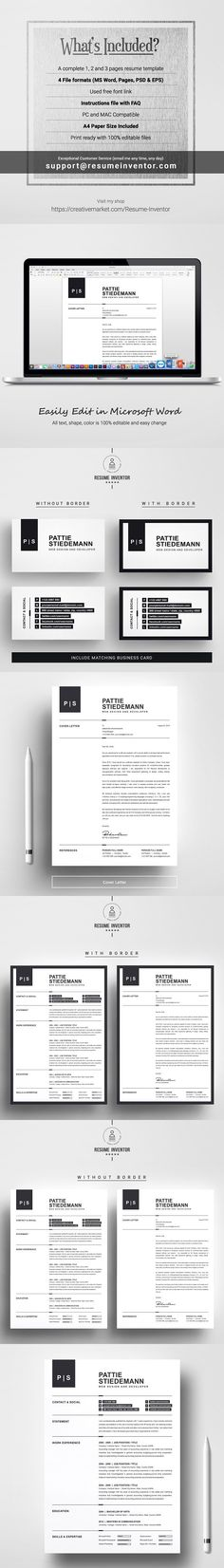 Resume/CV for Pages and InDesign Stationery Templates Pinterest - resume 1 or 2 pages