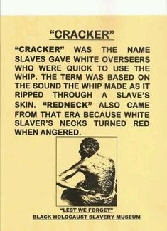 """Cracker"". Red neck came from people working in the field picking cotton (yes poor whites picked cotton too) and they got sun burned on the neck from bending over picking the cotton."