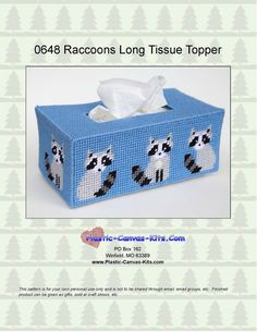 Raccoon Long Style Tissue Topper-Plastic Canvas Pattern-PDF download