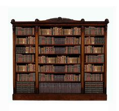 A George IV mahogany open bookcase, circa 1825, the cornice with central scroll and shell decoration above beaded edge and central double and flanking single bookcases with decorative corbels, on a bead moulded plinth base - Dim: 264cm high, 248cm wide, 39cm deep.