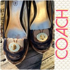 Listing! Coach Turnkey Loafers! Coach brown slip-on heels. Signs of wear. Price reflects condition. Coach Shoes Heels
