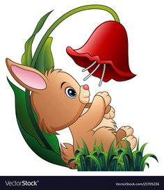 Cute little rabbit playing with a flower on white Vector Image Art Drawings For Kids, Drawing For Kids, Easy Drawings, Art For Kids, Cute Cartoon Pictures, Cute Images, Cute Pictures, Disney Wallpaper, Cartoon Wallpaper