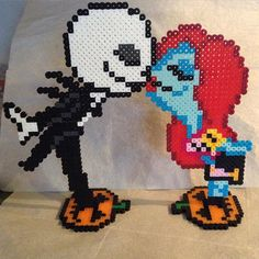 Jack and Sally perler beads by lizdejesus23 (original design by geekmythologycrafts)