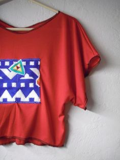 Funky Red Striped Batwing Crop Shirt/ Tribal by FuriousDesigns, $38.00