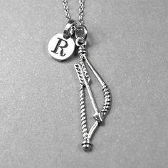 Bow and Arrow Necklace archery bow charm by chrysdesignsjewelry, $18.00