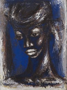 Blue head - Gerard Sekoto December 1913 - 20 March was a South African artist and musician. He is recognised as the pioneer of urban black art and social realism. African American Artist, American Artists, Gerard Sekoto, Night Pictures, South African Artists, Art Database, Portraits, Black Art, Art And Architecture