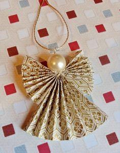 Origami Christmas Angel Decoration in Cream and Gold