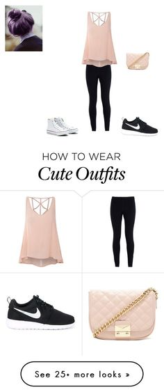 """Cute casual outfit"" by cutestime on Polyvore featuring NIKE, Glamorous, Converse and Forever 21"