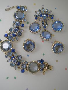 DeLizza and Elster aka Juliana Blue Caged Demi Parure   by Cleoras, $550.00