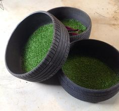 Dog bed made from old tires and artificial grass!!