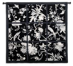 Floral Division Black and White Large Wall Tapestry