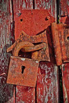 Antique Gate Padlock Lock Rusty - Fine Art Photograph Print Picture