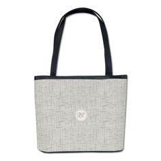 Chic Grey Monogrammed Bucket Bag