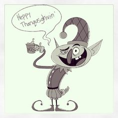 """""""And of course, the day before Thanksgiving, I'm doodling elves."""""""
