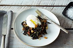 Slow-Cooked Kale, Pancetta, Breadcrumbs + Poached Egg