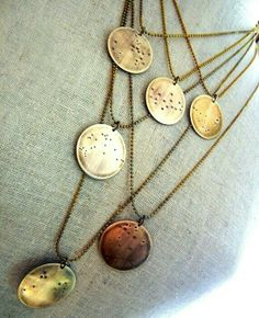Constellations Necklaces of my kids Zodiac signs.