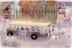 ¤ Jean-Jacques Sempé. Old Paris bus...