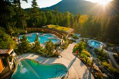 Summer in Vancouver and Whistler:   Here are ideas for a three day itinerary to get the most out of these spots during the summer.      Pictured is the Scandinave Spa.   After all the action, relax any sore muscles at the 20,000 square feet outdoor Scandinave Spa. Let the Finnish Sauna, the steam hut and hot waterfall work their magic. You'll feel as good as new come dinnertime.    #whistler #british_columbia #vancouver #travel #canada