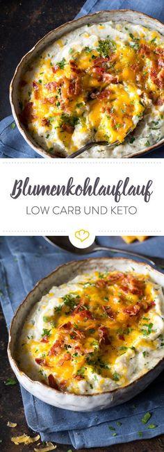 Cremiger Blumenkohl trifft auf Cheddar und Kochschinken. Herauskommt dieser Wohlfühlauflauf, der nicht nur Low Carb sondern sogar Keto ist!